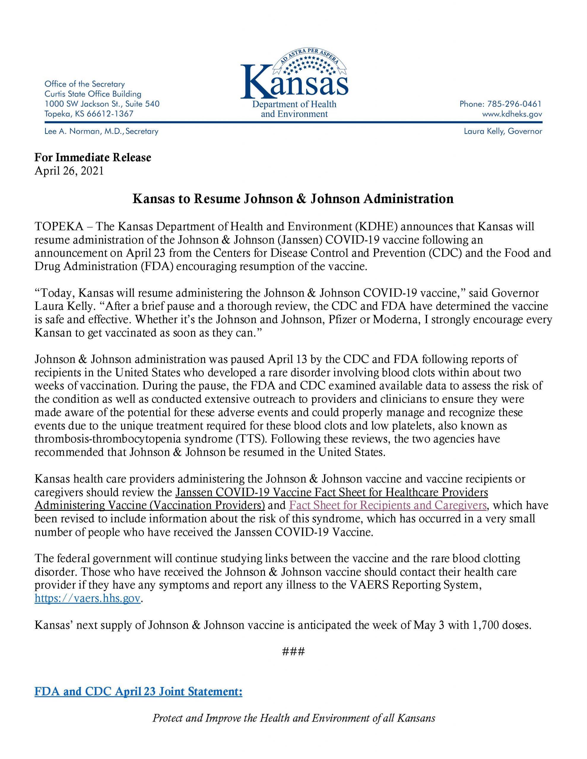 Kansas resumes J&J vaccine